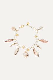 Chan Luu Gold-plated, shell and pearl bracelet