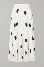 Christopher Kane Pleated printed crepe de chine midi skirt