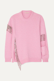 Christopher Kane Oversized crystal-embellished cutout wool sweater