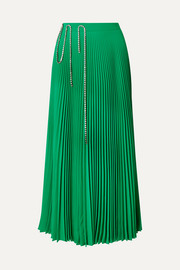 Christopher Kane Squiggle crystal-embellished pleated crepe de chine midi skirt