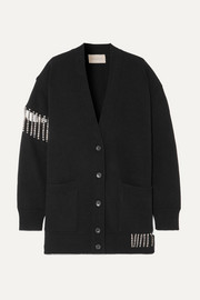 Christopher Kane Oversized crystal-embellished wool cardigan