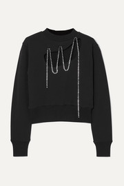 Christopher Kane Squiggle cropped crystal-embellished cotton-jersey sweatshirt