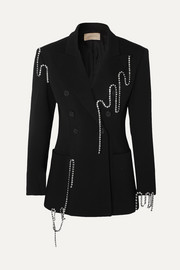 Christopher Kane Squiggle crystal-embellished double-breasted twill blazer