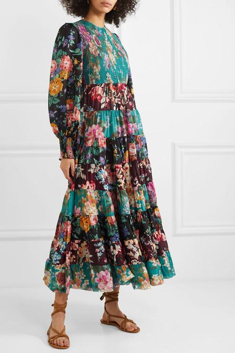 Allia tiered floral-print silk maxi dress