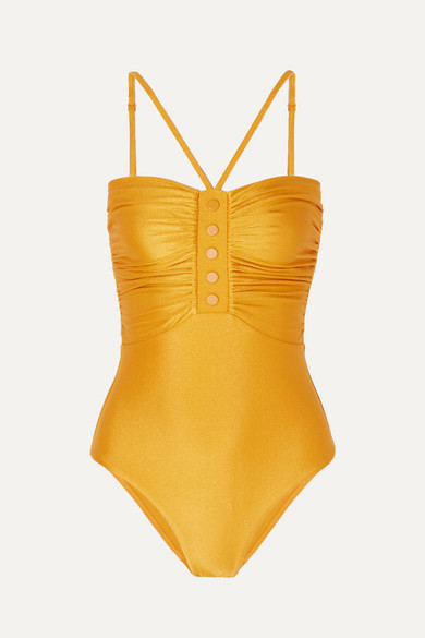 Ruched Metallic Swimsuit