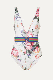 Zimmermann Allia belted floral-print swimsuit