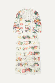 Zimmermann Allia pintucked lace-paneled floral-print linen dress