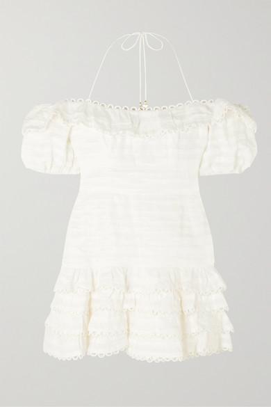 Zimmermann Allia Cold-Shoulder Ruffled Linen Mini Dress In Ivory