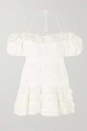 Zimmermann Allia cold-shoulder ruffled linen mini dress