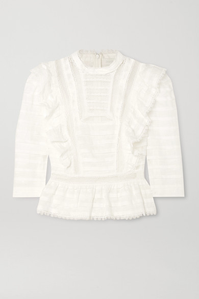 Lace Trimmed Blouse White