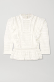Allia ruffled lace-trimmed linen-gauze top
