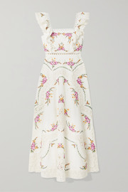 Zimmermann Allia lace-trimmed embroidered linen and cotton-blend maxi dress