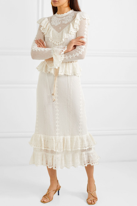 Allia belted ruffled crocheted cotton maxi dress