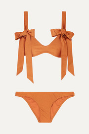 Veneto bow-detailed metallic bikini