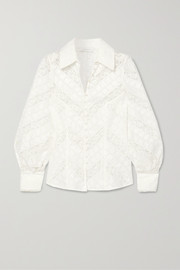 Zimmermann Veneto Lantern broderie anglaise and lace blouse