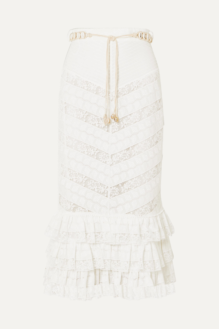 Zimmermann Veneto Perennial ruffled broderie anglaise gauze and lace skirt