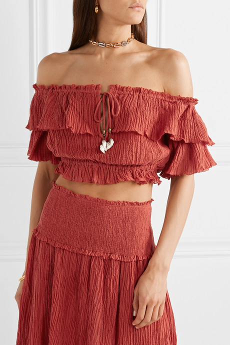 Veneto cropped off-the-shoulder crinkled ramie and cotton-blend gauze top