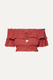 Zimmermann Veneto cropped off-the-shoulder crinkled ramie and cotton-blend gauze top