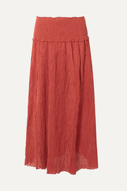 Zimmermann Veneto shirred crinkled ramie and cotton-blend gauze maxi skirt