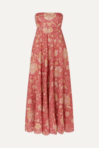 Zimmermann Beachwear Veneto strapless printed linen midi dress
