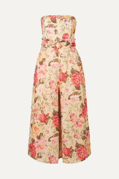 Zimmermann Beachwear Honour strapless floral-print linen jumpsuit