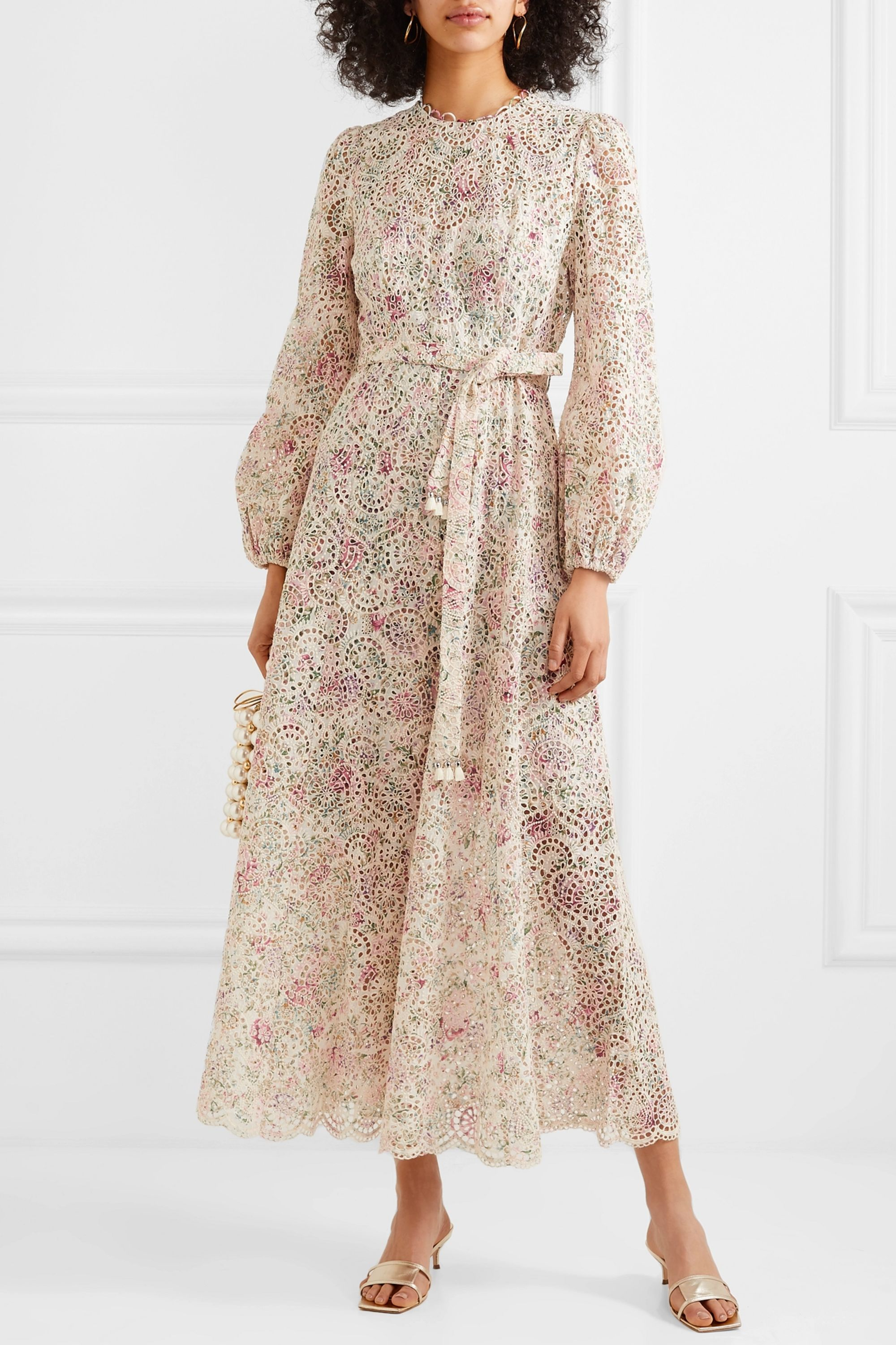 Zimmermann Honour belted floral-print broderie anglaise cotton midi dress