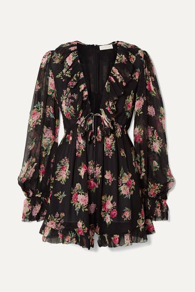 ZIMMERMANN | Zimmermann - Honour Floating Ruffled Floral-Print Silk-Georgette Playsuit - Black | Goxip
