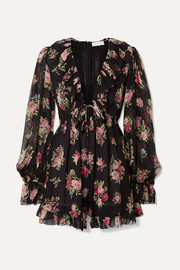Zimmermann Honour Floating ruffled floral-print silk-georgette playsuit