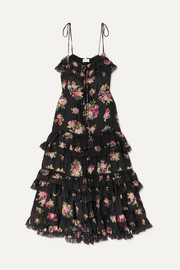 Honour lace-trimmed tiered floral-print silk dress