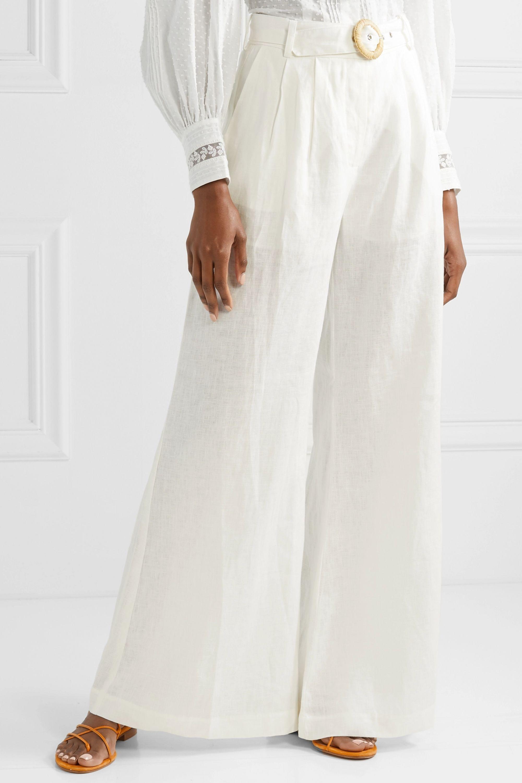 Zimmermann Honour belted linen wide-leg pants