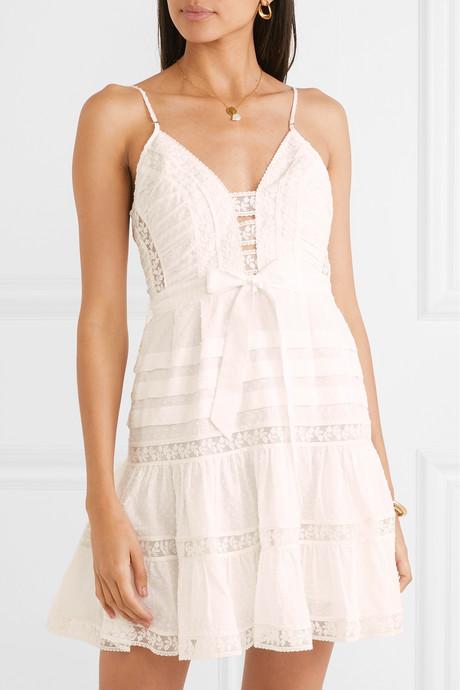 Honour tiered lace-trimmed Swiss-dot cotton-voile mini dress