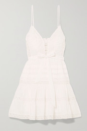 Zimmermann Honour tiered lace-trimmed Swiss-dot cotton-voile mini dress