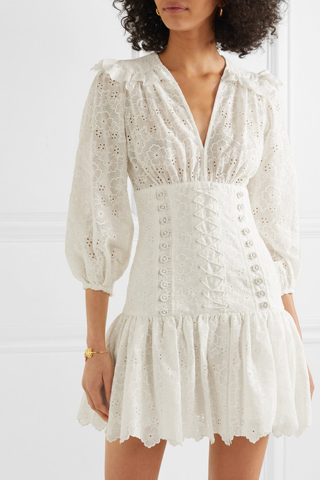 Honour lace-up broderie anglaise cotton mini dress