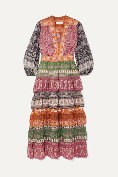 Zimmermann Beachwear Amari printed tiered cotton and silk-blend chiffon dress