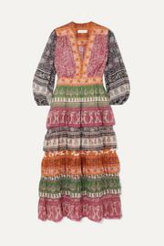 Amari printed tiered cotton and silk-blend chiffon dress