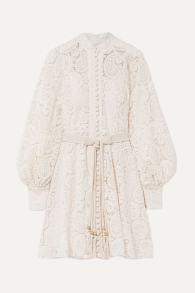 Zimmermann Beachwear Amari guipure lace mini dress
