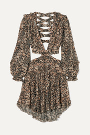 Zimmermann Eyes on Summer cutout leopard-print cotton and silk-blend chiffon dress