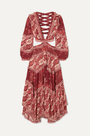 Zimmermann Eyes on Summer cutout printed cotton and silk-blend chiffon maxi dress