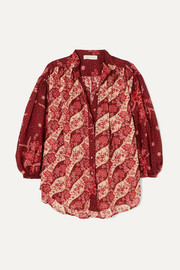 Zimmermann Eyes on Summer oversized printed cotton and silk-blend voile shirt