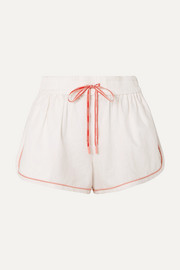 Eyes on Summer linen and cotton-blend shorts