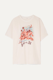 Eyes on Summer printed linen and cotton-blend jersey T-shirt