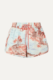 Zimmermann Eyes on Summer printed cotton and linen-blend canvas shorts