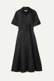 Equipment Irenne belted linen dress
