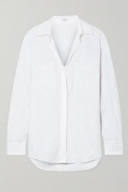 Equipment Aceline pinstriped linen shirt