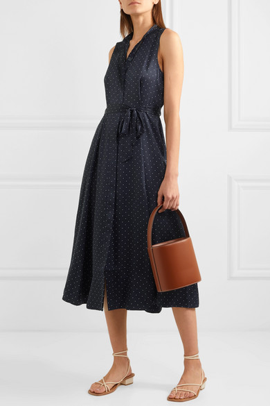 Equipment Dresses Clevete polka-dot crepe midi dress