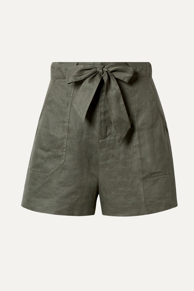Taimee Belted Linen Shorts by Equipment