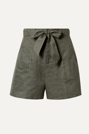 Equipment Taimee belted linen shorts