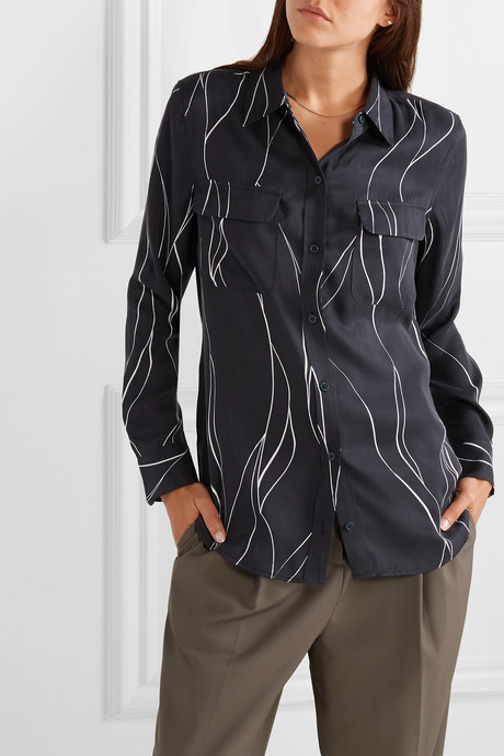 Slim Signature printed washed silk-blend shirt