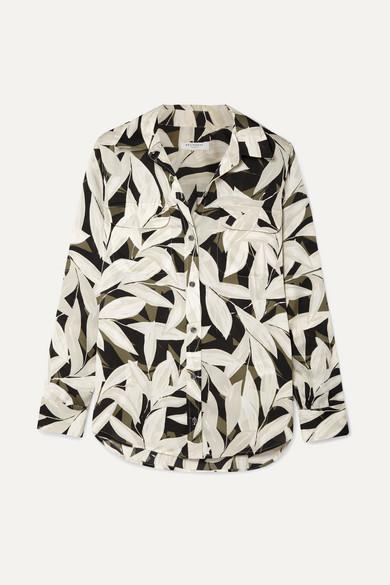 EQUIPMENT | Equipment - Slim Signature Printed Crepe De Chine Shirt - Black | Goxip
