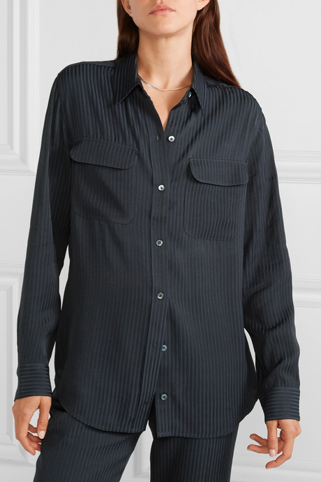 Signature satin-jacquard shirt